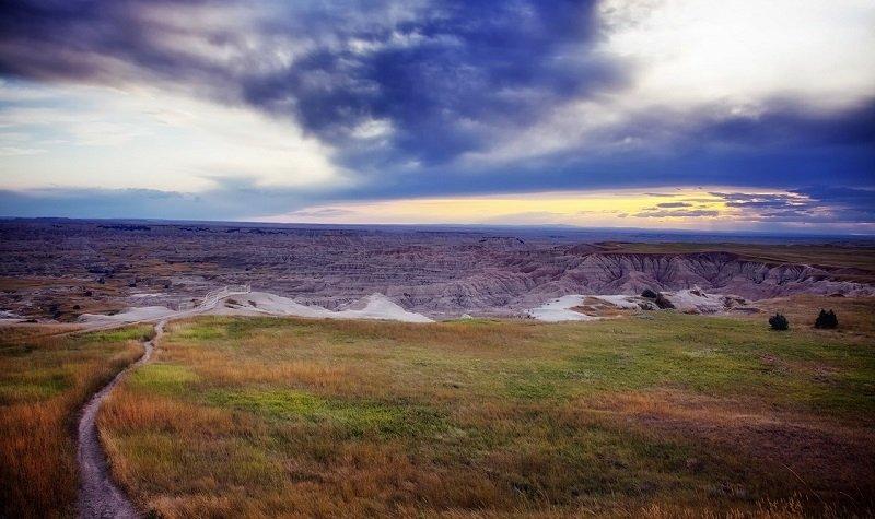 Parc national des Badlands coucher de soleil