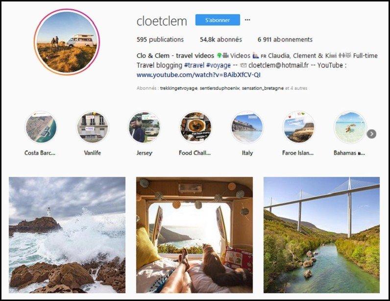 compte instagram voyage