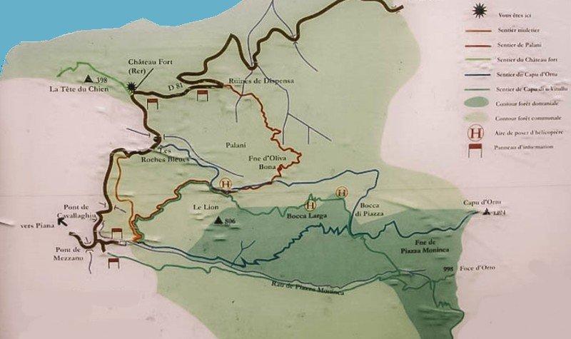carte randonnée piana
