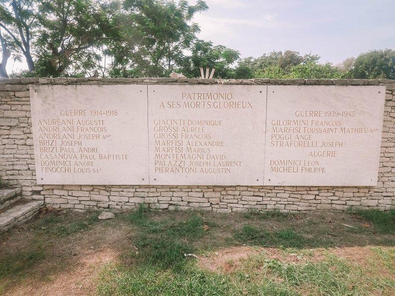 stèle morts guerre propriano