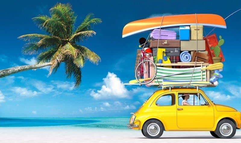 Voiture avec valises et palmier