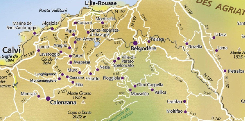 carte des villages perchés de balagne